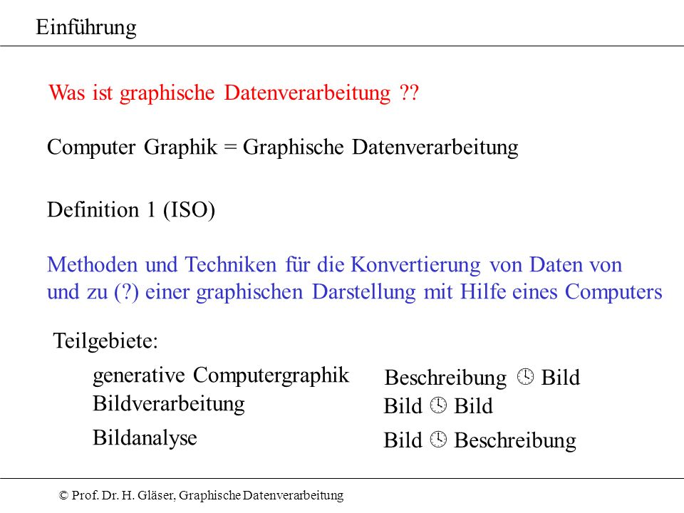 Einführung Was ist graphische Datenverarbeitung ?? Computer Graphik = Graphische Datenverarbeitung Definition 1 (ISO) Methoden und Techniken für die K