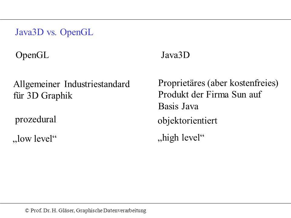 © Prof. Dr. H. Gläser, Graphische Datenverarbeitung Java3D vs. OpenGL OpenGLJava3D Allgemeiner Industriestandard für 3D Graphik Proprietäres (aber kos