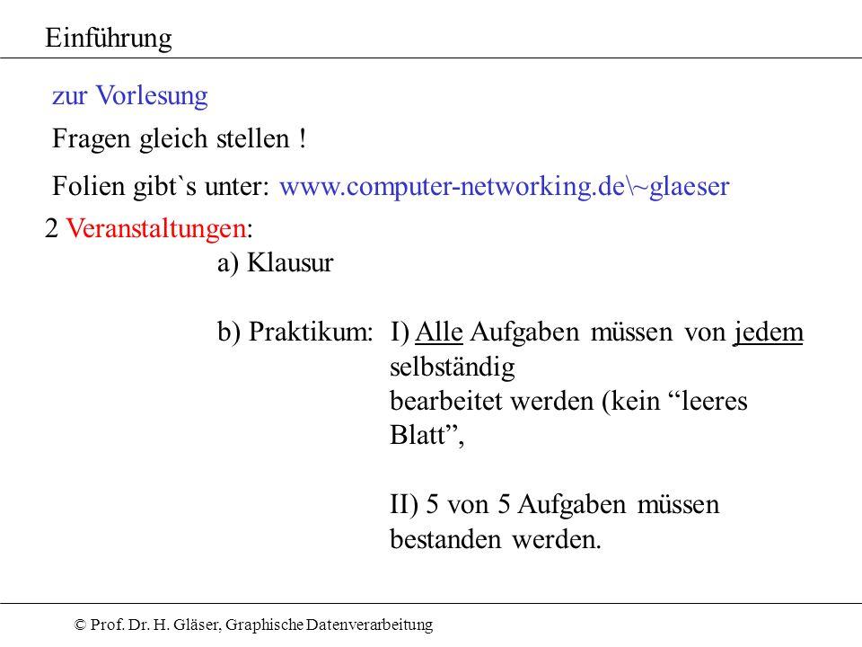 © Prof. Dr. H. Gläser, Graphische Datenverarbeitung zur Vorlesung Fragen gleich stellen ! Folien gibt`s unter: www.computer-networking.de\~glaeser Ein
