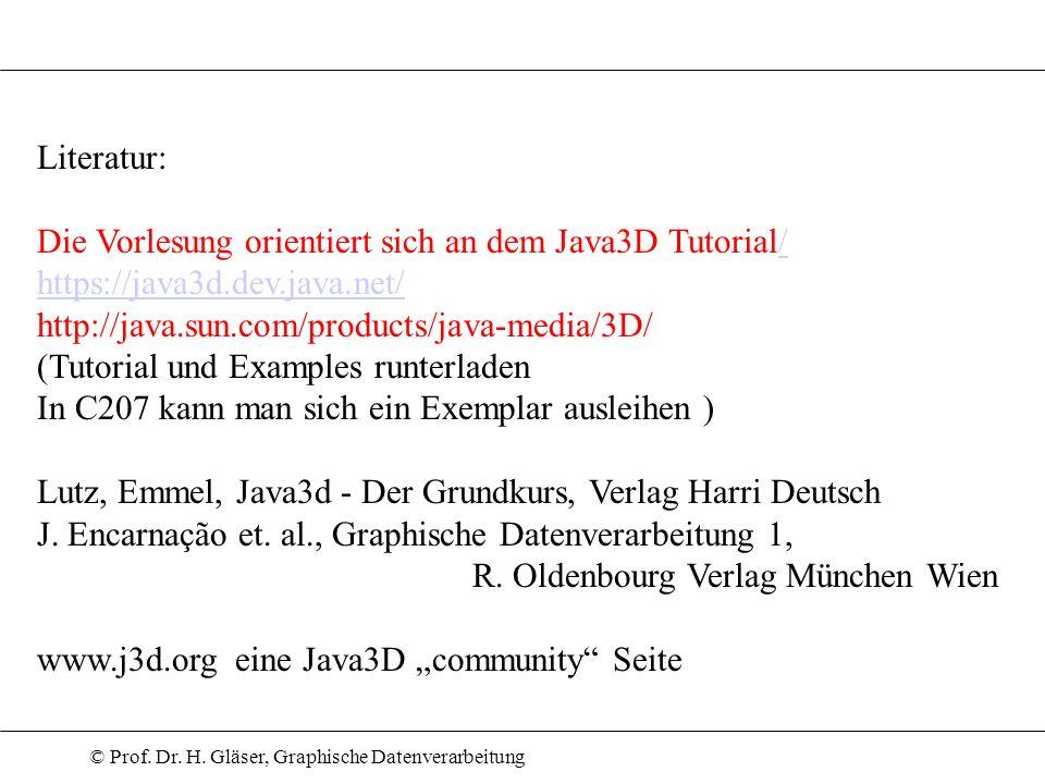 © Prof. Dr. H. Gläser, Graphische Datenverarbeitung Literatur: Die Vorlesung orientiert sich an dem Java3D Tutorial// https://java3d.dev.java.net/ htt