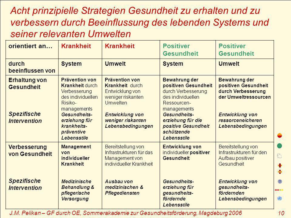 J.M. Pelikan – GF durch OE, Sommerakademie zur Gesundheitsförderung, Magdeburg 2006 10 Acht prinzipielle Strategien Gesundheit zu erhalten und zu verb