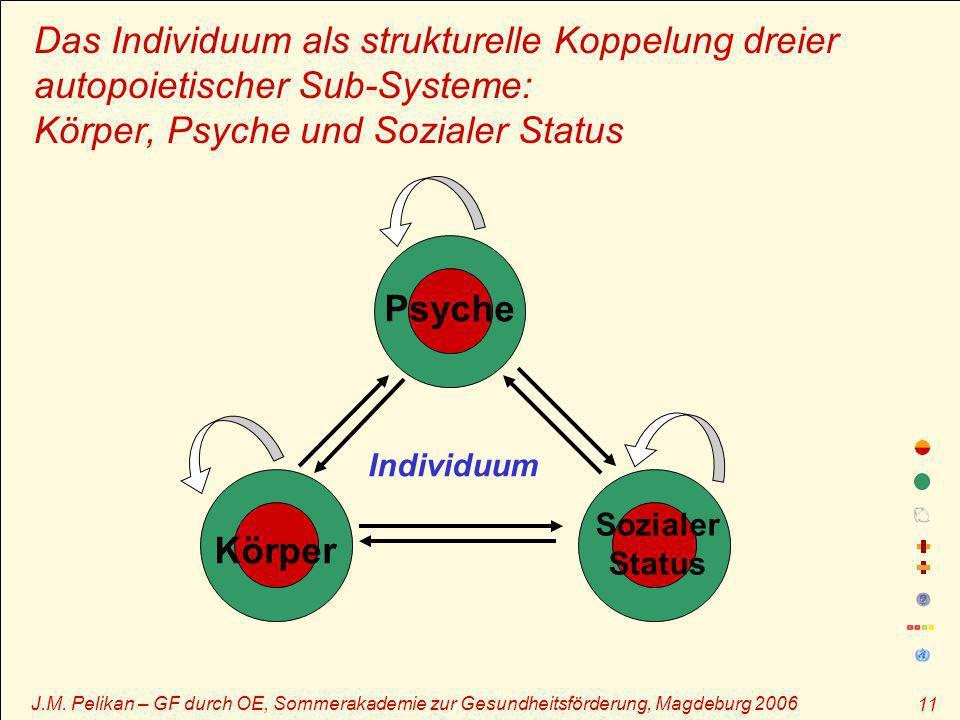 J.M. Pelikan – GF durch OE, Sommerakademie zur Gesundheitsförderung, Magdeburg 2006 11 Das Individuum als strukturelle Koppelung dreier autopoietische