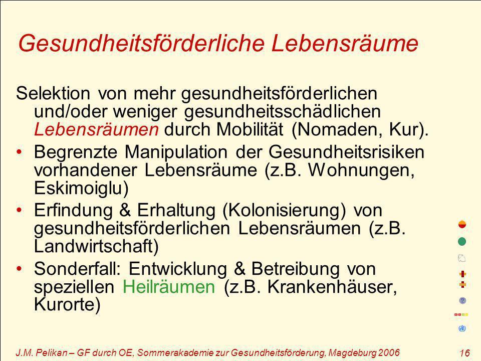 J.M. Pelikan – GF durch OE, Sommerakademie zur Gesundheitsförderung, Magdeburg 2006 16 Gesundheitsförderliche Lebensräume Selektion von mehr gesundhei
