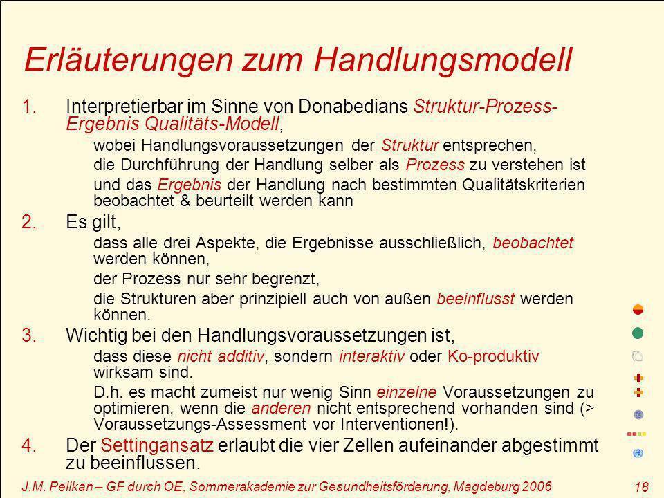 J.M. Pelikan – GF durch OE, Sommerakademie zur Gesundheitsförderung, Magdeburg 2006 18 Erläuterungen zum Handlungsmodell 1.Interpretierbar im Sinne vo