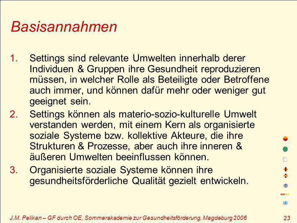 J.M. Pelikan – GF durch OE, Sommerakademie zur Gesundheitsförderung, Magdeburg 2006 23 Basisannahmen 1.Settings sind relevante Umwelten innerhalb dere