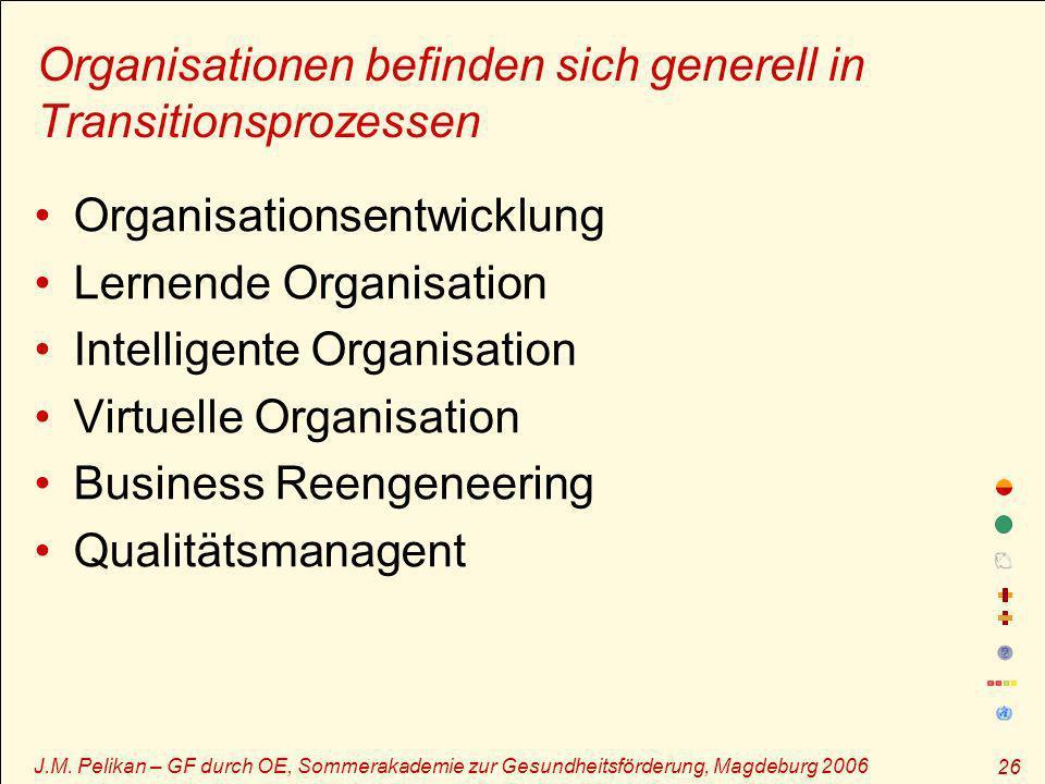 J.M. Pelikan – GF durch OE, Sommerakademie zur Gesundheitsförderung, Magdeburg 2006 26 Organisationen befinden sich generell in Transitionsprozessen O