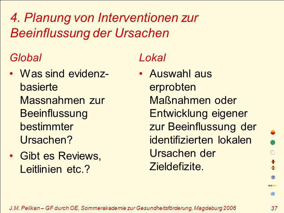 J.M. Pelikan – GF durch OE, Sommerakademie zur Gesundheitsförderung, Magdeburg 2006 37 4. Planung von Interventionen zur Beeinflussung der Ursachen Gl