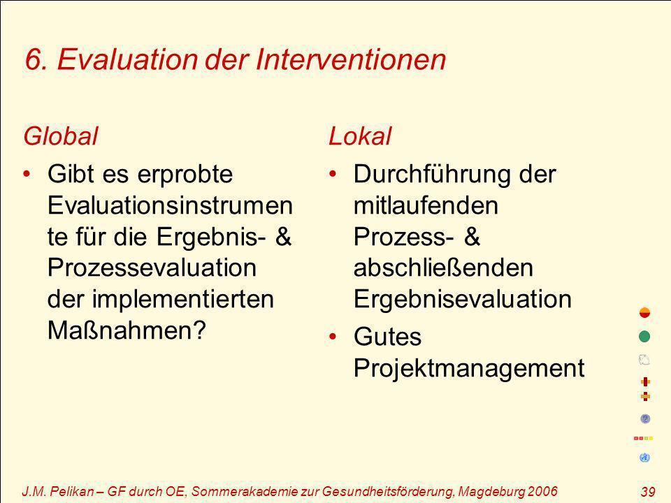 J.M. Pelikan – GF durch OE, Sommerakademie zur Gesundheitsförderung, Magdeburg 2006 39 6. Evaluation der Interventionen Global Gibt es erprobte Evalua