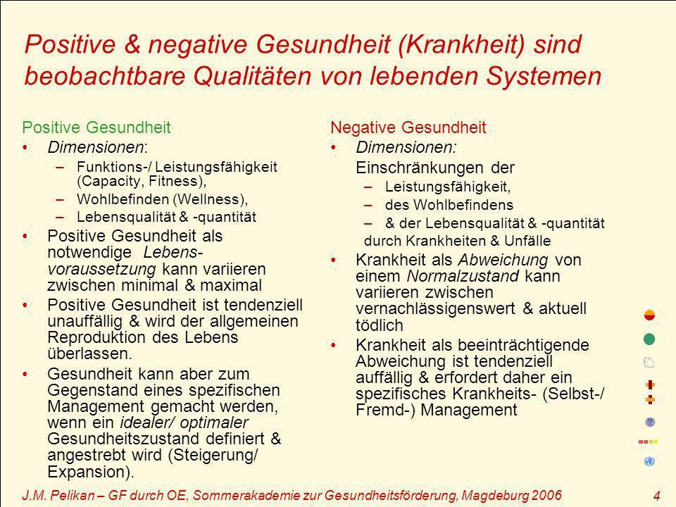 J.M. Pelikan – GF durch OE, Sommerakademie zur Gesundheitsförderung, Magdeburg 2006 4 Positive & negative Gesundheit (Krankheit) sind beobachtbare Qua