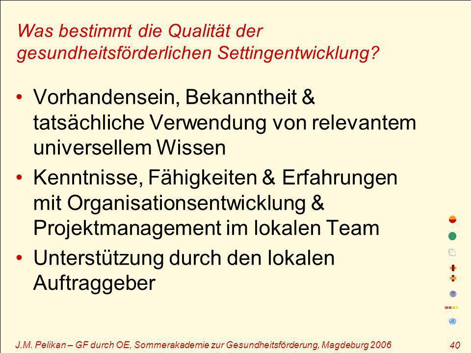 J.M. Pelikan – GF durch OE, Sommerakademie zur Gesundheitsförderung, Magdeburg 2006 40 Was bestimmt die Qualität der gesundheitsförderlichen Settingen