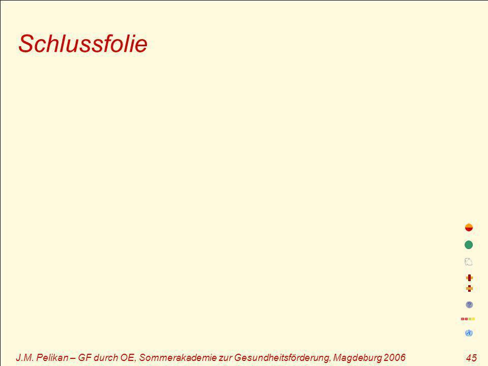 J.M. Pelikan – GF durch OE, Sommerakademie zur Gesundheitsförderung, Magdeburg 2006 45 Schlussfolie
