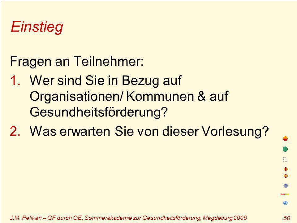 J.M. Pelikan – GF durch OE, Sommerakademie zur Gesundheitsförderung, Magdeburg 2006 50 Einstieg Fragen an Teilnehmer: 1.Wer sind Sie in Bezug auf Orga