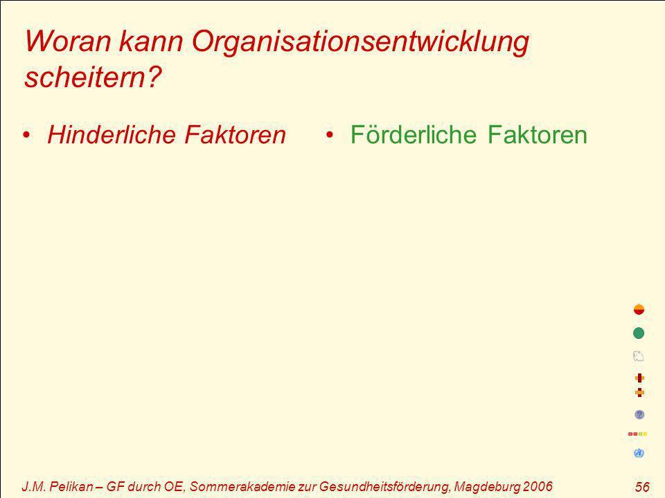 J.M. Pelikan – GF durch OE, Sommerakademie zur Gesundheitsförderung, Magdeburg 2006 56 Woran kann Organisationsentwicklung scheitern? Hinderliche Fakt