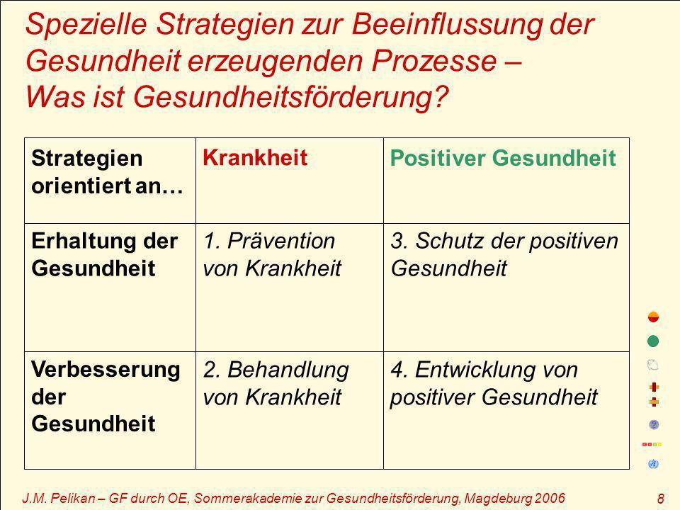 J.M. Pelikan – GF durch OE, Sommerakademie zur Gesundheitsförderung, Magdeburg 2006 8 Spezielle Strategien zur Beeinflussung der Gesundheit erzeugende