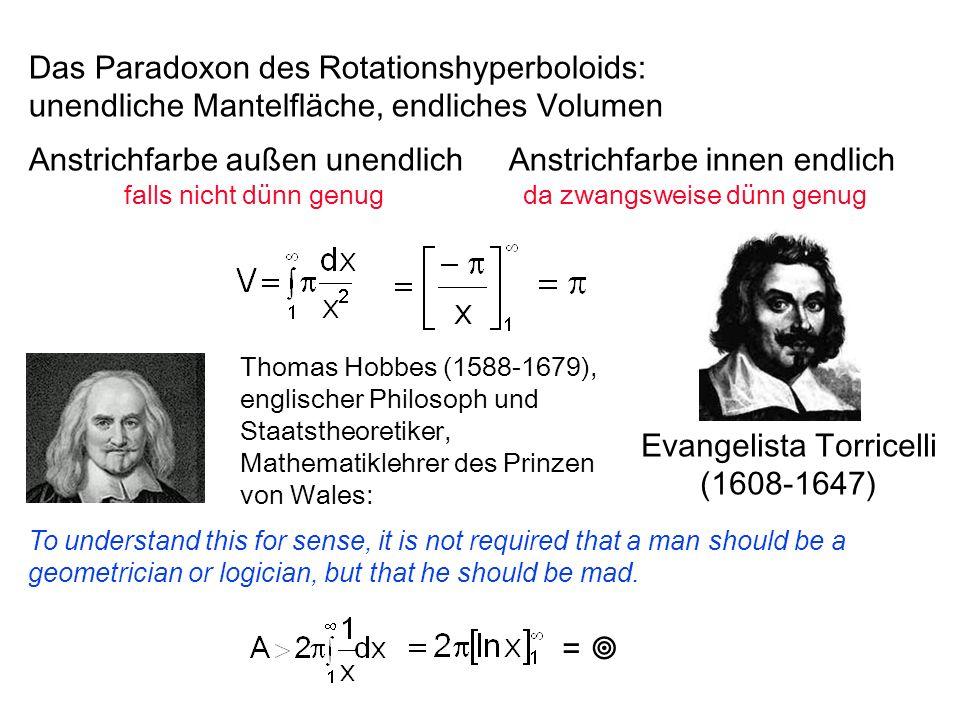 = Das Paradoxon des Rotationshyperboloids: unendliche Mantelfläche, endliches Volumen Anstrichfarbe außen unendlichAnstrichfarbe innen endlich falls n