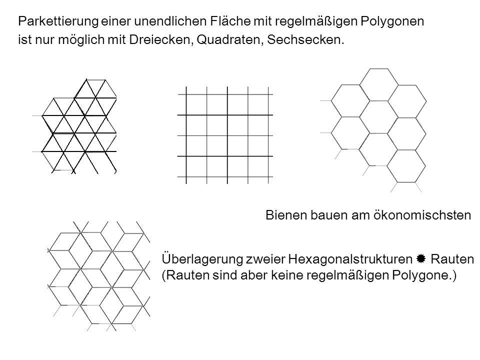 Parkettierung einer unendlichen Fläche mit regelmäßigen Polygonen ist nur möglich mit Dreiecken, Quadraten, Sechsecken. Bienen bauen am ökonomischsten
