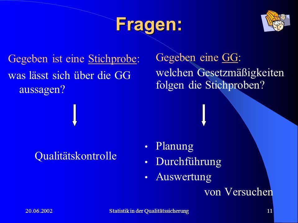 20.06.2002Statistik in der Qualitätssicherung11 Fragen: Gegeben ist eine Stichprobe: was lässt sich über die GG aussagen? Qualitätskontrolle Gegeben e