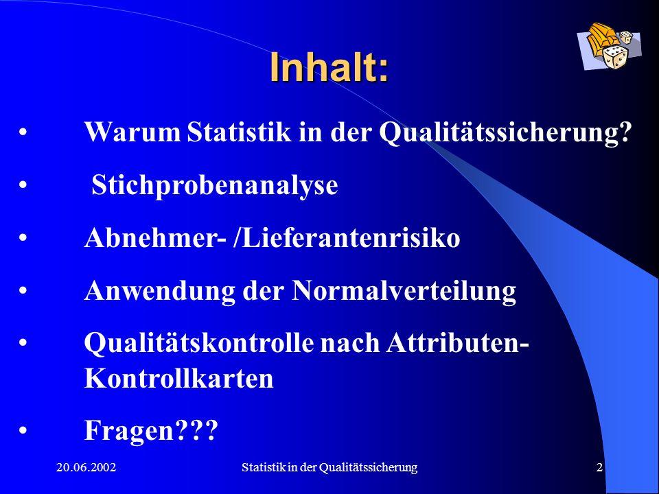 20.06.2002Statistik in der Qualitätssicherung13 Begriffsdefinitionen: - n Stichprobenumfang - c Anzahl der max.