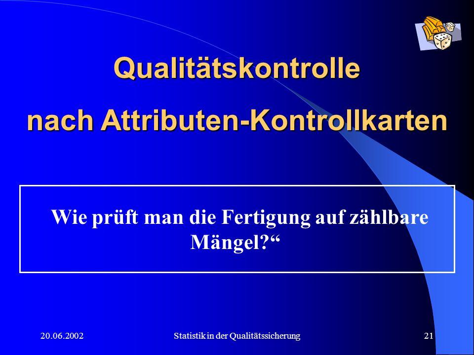 20.06.2002Statistik in der Qualitätssicherung21 Qualitätskontrolle nach Attributen-Kontrollkarten Wie prüft man die Fertigung auf zählbare Mängel?