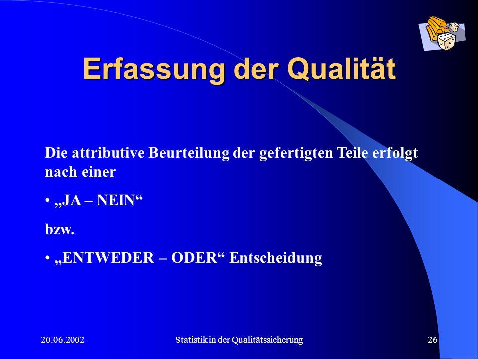 20.06.2002Statistik in der Qualitätssicherung26 Erfassung der Qualität Die attributive Beurteilung der gefertigten Teile erfolgt nach einer JA – NEIN