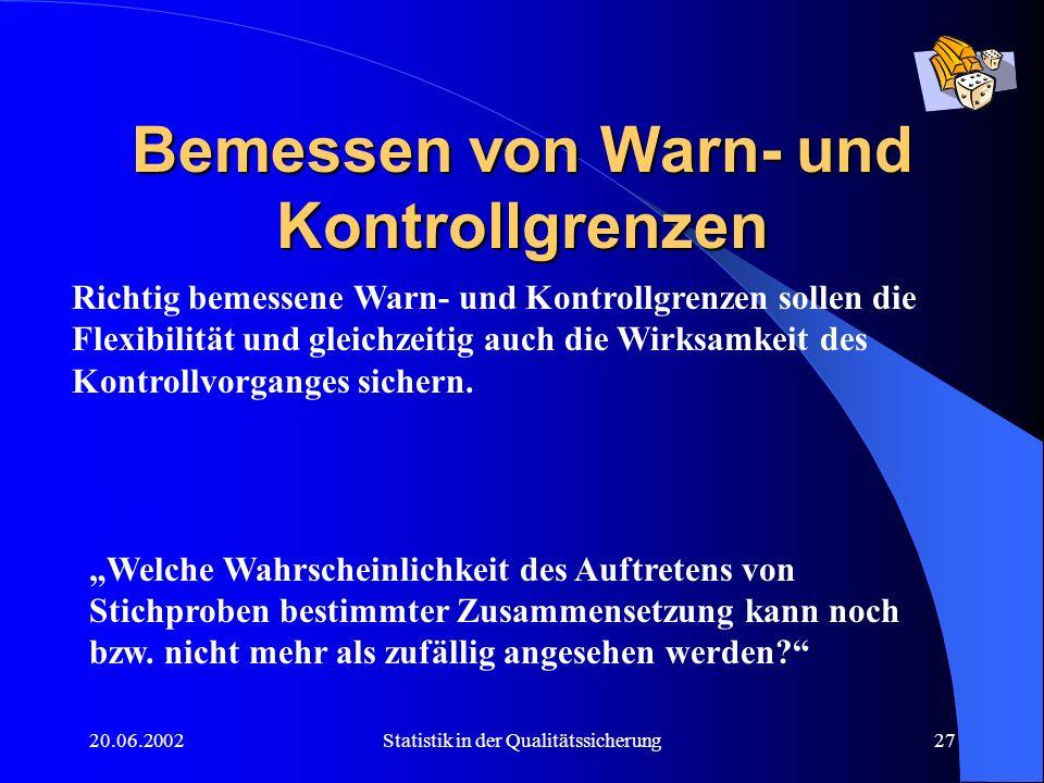 20.06.2002Statistik in der Qualitätssicherung27 Bemessen von Warn- und Kontrollgrenzen Richtig bemessene Warn- und Kontrollgrenzen sollen die Flexibil