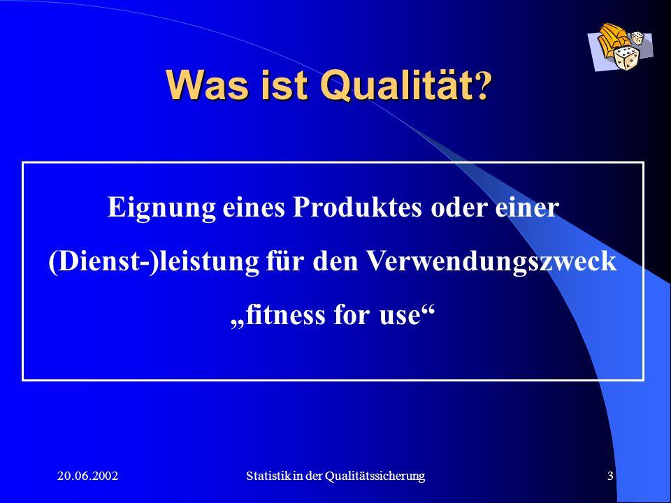 20.06.2002Statistik in der Qualitätssicherung4 Wozu statistische Methoden im QM (1) 100 % - Prüfung nicht möglich Prüfkosten Zerstörende Prüfung qualifizierteres Personal Vertragliche Vereinbarungen mit dem Kunden