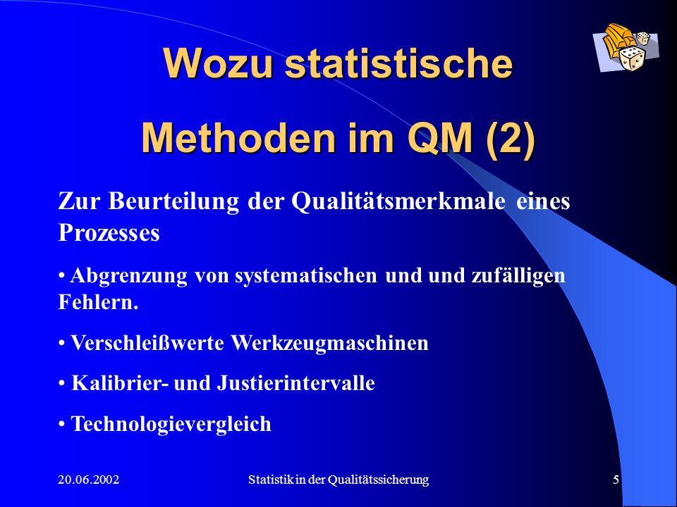 20.06.2002Statistik in der Qualitätssicherung5 Wozu statistische Methoden im QM (2) Zur Beurteilung der Qualitätsmerkmale eines Prozesses Abgrenzung v