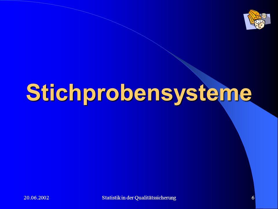 20.06.2002Statistik in der Qualitätssicherung7 Zweck: Statistische Stichproben werden einer Grundgesamtheit (GG) entnommen, um diese Grundgesamtheit beschreiben bzw.