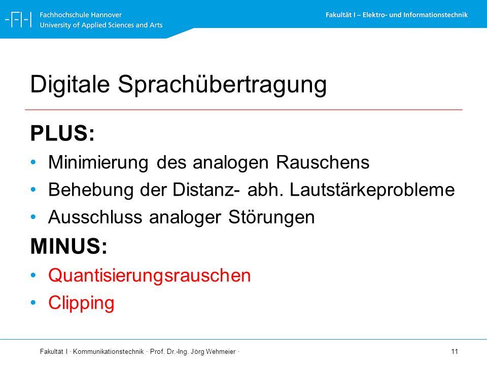 Fakultät I · Kommunikationstechnik · Prof. Dr.-Ing. Jörg Wehmeier · 11 Digitale Sprachübertragung PLUS: Minimierung des analogen Rauschens Behebung de