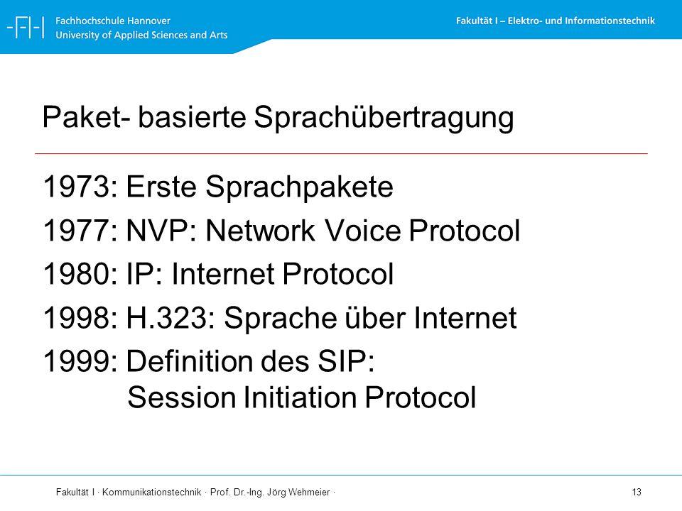 Fakultät I · Kommunikationstechnik · Prof. Dr.-Ing. Jörg Wehmeier · 13 Paket- basierte Sprachübertragung 1973: Erste Sprachpakete 1977: NVP: Network V