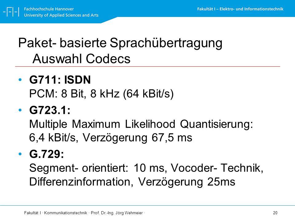 Fakultät I · Kommunikationstechnik · Prof. Dr.-Ing. Jörg Wehmeier · 20 Paket- basierte Sprachübertragung Auswahl Codecs G711: ISDN PCM: 8 Bit, 8 kHz (