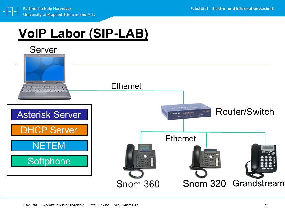 Fakultät I · Kommunikationstechnik · Prof. Dr.-Ing. Jörg Wehmeier · 21 VoIP Labor (SIP-LAB) Server Ethernet Router/Switch Snom 360 Snom 320 Ethernet A