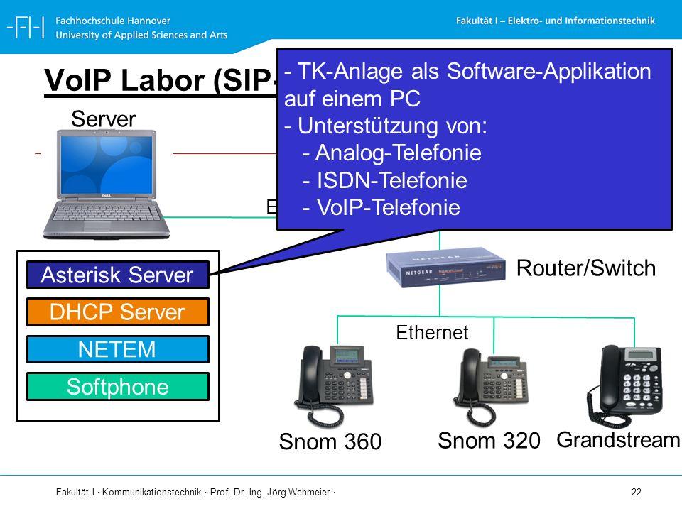 Fakultät I · Kommunikationstechnik · Prof. Dr.-Ing. Jörg Wehmeier · 22 VoIP Labor (SIP-LAB) Server Ethernet Router/Switch Snom 360 Snom 320 Ethernet A