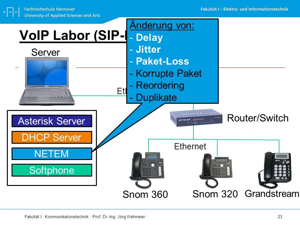 Fakultät I · Kommunikationstechnik · Prof. Dr.-Ing. Jörg Wehmeier · 23 VoIP Labor (SIP-LAB) Server Ethernet Router/Switch Snom 360 Snom 320 Ethernet A