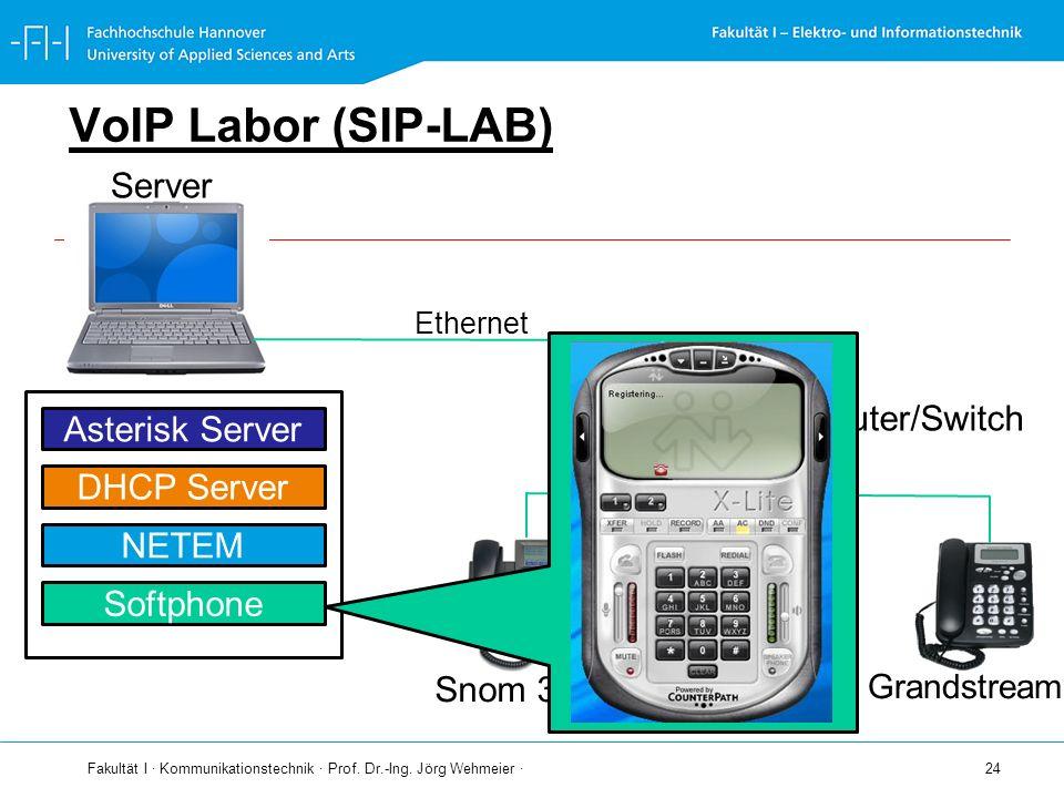 Fakultät I · Kommunikationstechnik · Prof. Dr.-Ing. Jörg Wehmeier · 24 VoIP Labor (SIP-LAB) Server Ethernet Router/Switch Snom 360 Snom 320 Ethernet A