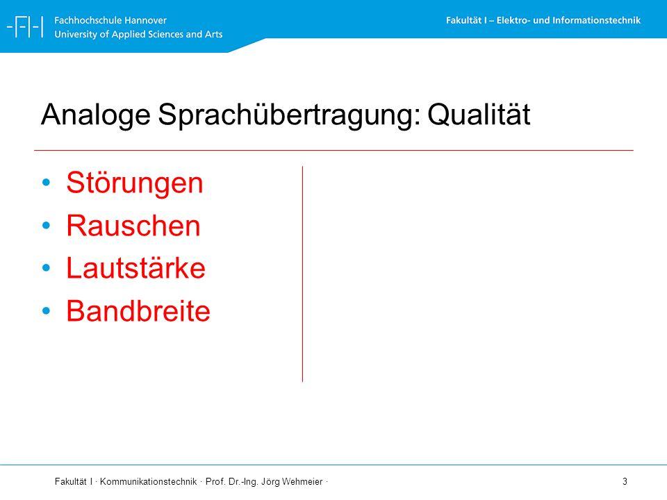 Fakultät I · Kommunikationstechnik · Prof. Dr.-Ing. Jörg Wehmeier · 3 Analoge Sprachübertragung: Qualität Störungen Rauschen Lautstärke Bandbreite