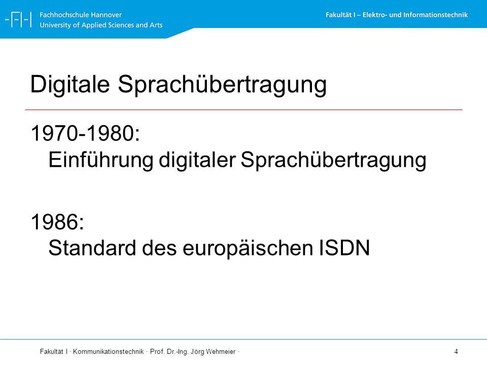 Fakultät I · Kommunikationstechnik · Prof. Dr.-Ing. Jörg Wehmeier · 4 Digitale Sprachübertragung 1970-1980: Einführung digitaler Sprachübertragung 198