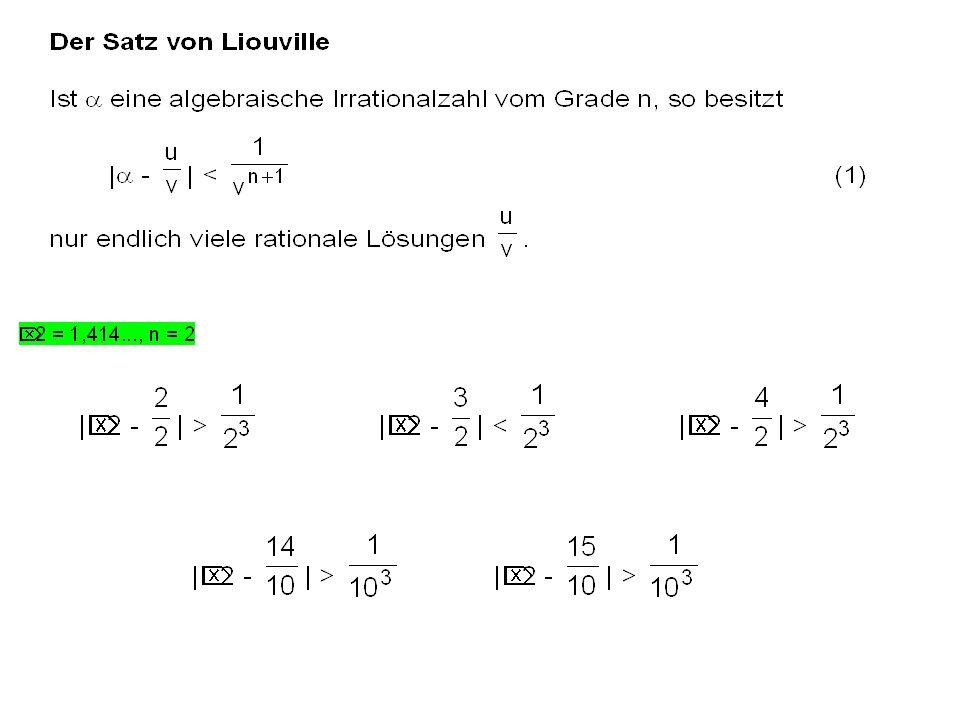 1212 1212 Das Minimalpolynom für 2 ist2 - x 2 Es besitzt keine rationalen Nullstellen u/v.