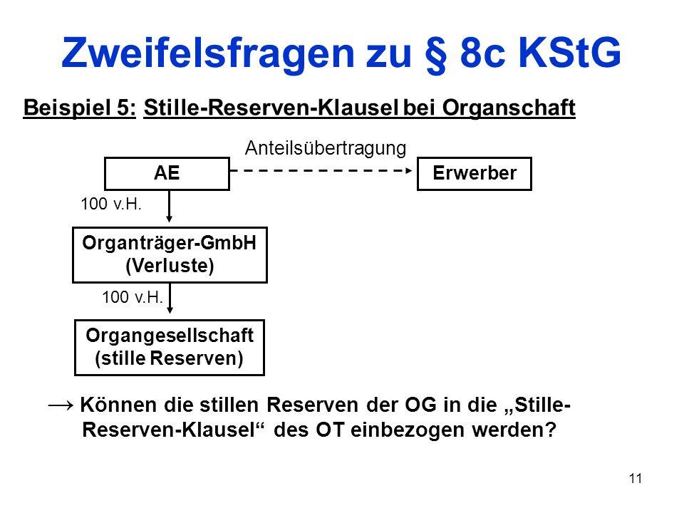 11 Zweifelsfragen zu § 8c KStG Beispiel 5: Stille-Reserven-Klausel bei Organschaft Organgesellschaft (stille Reserven) AE Organträger-GmbH (Verluste)