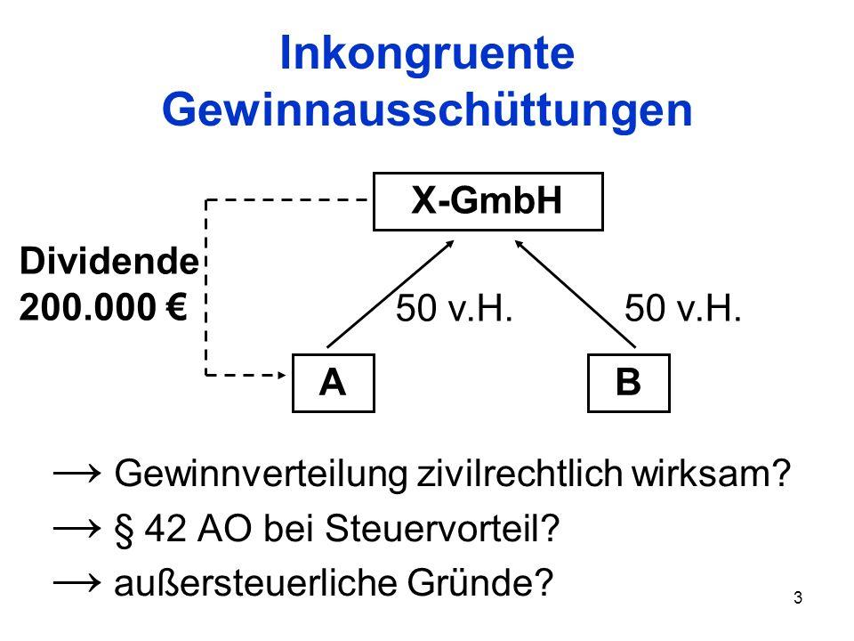 3 Inkongruente Gewinnausschüttungen Gewinnverteilung zivilrechtlich wirksam? § 42 AO bei Steuervorteil? außersteuerliche Gründe? X-GmbH AB 50 v.H. Div