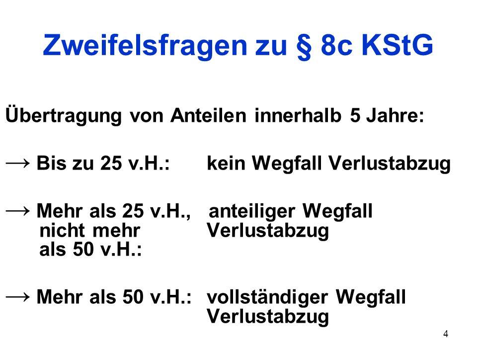 4 Zweifelsfragen zu § 8c KStG Übertragung von Anteilen innerhalb 5 Jahre: Bis zu 25 v.H.: kein Wegfall Verlustabzug Mehr als 25 v.H., anteiliger Wegfa