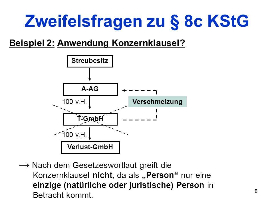 8 Zweifelsfragen zu § 8c KStG Beispiel 2: Anwendung Konzernklausel? Verlust-GmbH T-GmbH Streubesitz A-AG Verschmelzung 100 v.H. Nach dem Gesetzeswortl