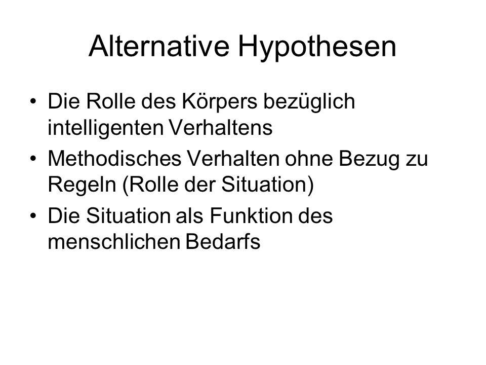 Alternative Hypothesen Die Rolle des Körpers bezüglich intelligenten Verhaltens Methodisches Verhalten ohne Bezug zu Regeln (Rolle der Situation) Die Situation als Funktion des menschlichen Bedarfs
