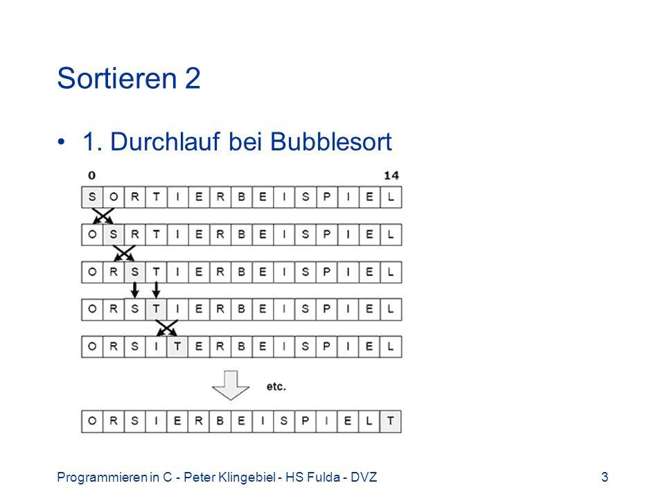 Programmieren in C - Peter Klingebiel - HS Fulda - DVZ24 Sortieren 23 Personalliste nach verschiedenen Kriterien (Name, P-Nr., Geburtsdatum) sortierbar Implementierung einer Vergleichsfunktion Beispiel: Nachnamen vergleichen int compnn(person_p p1, person_p p2) { int n; if(n = strcmp(p1->nn, p2->nn)) return(n); else return(strcmp(p1->vn, p2->vn)); }