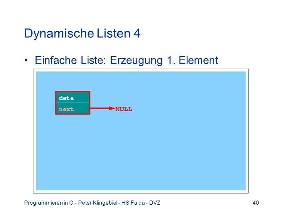 Programmieren in C - Peter Klingebiel - HS Fulda - DVZ40 Dynamische Listen 4 Einfache Liste: Erzeugung 1. Element