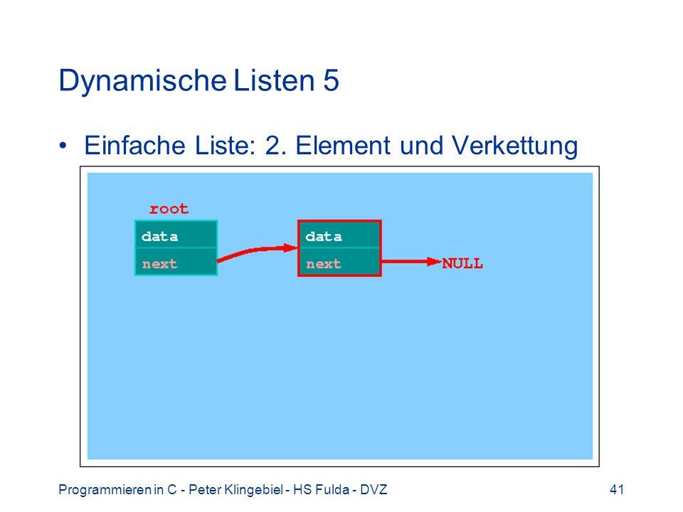 Programmieren in C - Peter Klingebiel - HS Fulda - DVZ41 Dynamische Listen 5 Einfache Liste: 2. Element und Verkettung