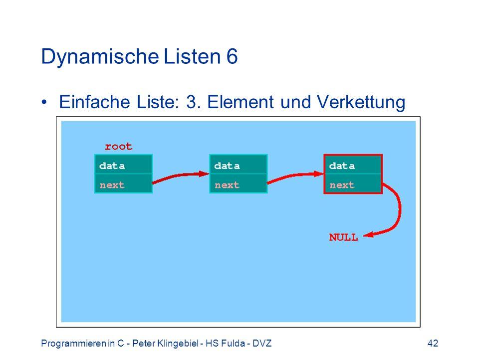 Programmieren in C - Peter Klingebiel - HS Fulda - DVZ42 Dynamische Listen 6 Einfache Liste: 3. Element und Verkettung