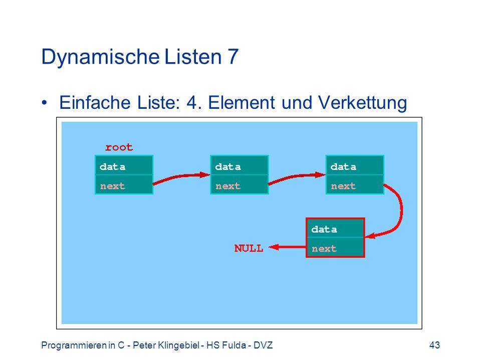 Programmieren in C - Peter Klingebiel - HS Fulda - DVZ43 Dynamische Listen 7 Einfache Liste: 4. Element und Verkettung