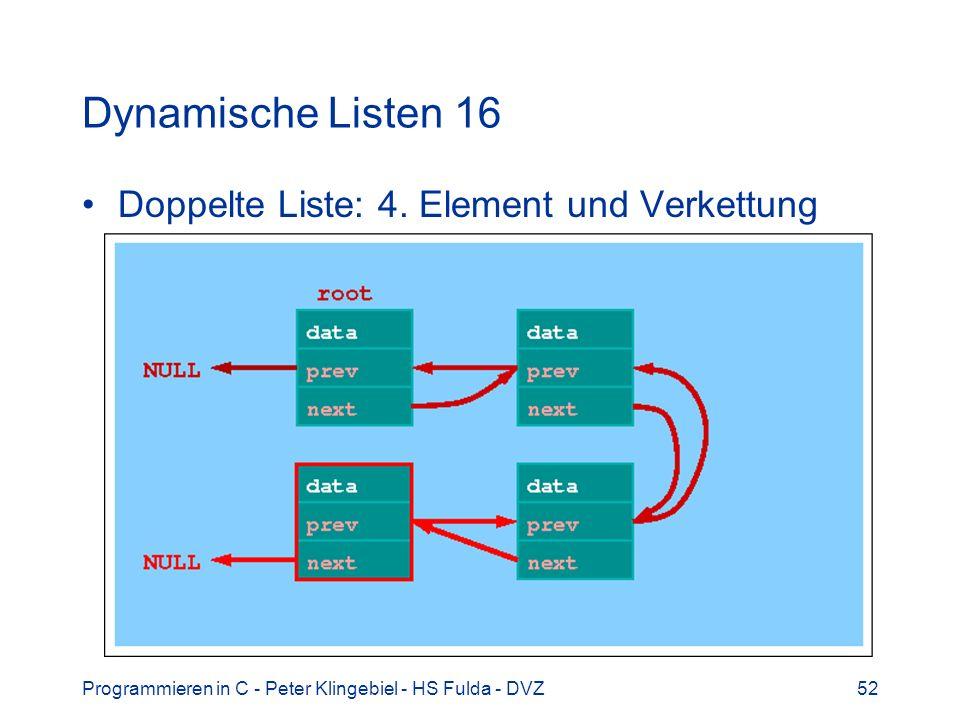 Programmieren in C - Peter Klingebiel - HS Fulda - DVZ52 Dynamische Listen 16 Doppelte Liste: 4. Element und Verkettung