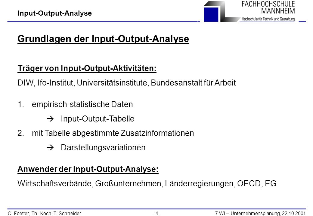 Input-Output-Analyse C.Förster, Th. Koch, T.